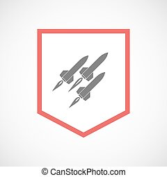 Isolated line art ribbon icon with missiles - Illustration...