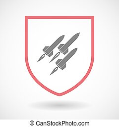 Isolated line art shield icon with missiles