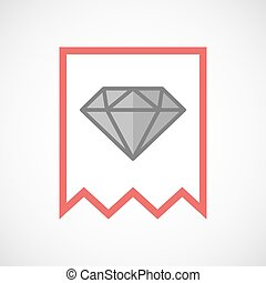 Isolated line art ribbon icon with a diamond - Illustration...