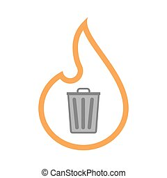 Isolated line art flame icon with a trash can - Illustration...
