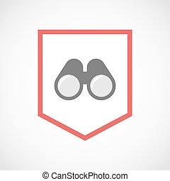 Isolated line art ribbon icon with a binoculars
