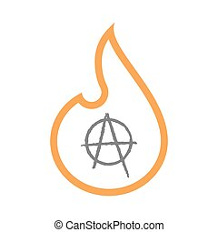 Isolated line art flame icon with an anarchy sign -...