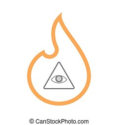Isolated line art flame icon with an all seeing eye -...