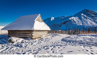 legno, montagne,  cottage, neve, coperto