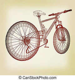 bicycle as a 3d wire frame object isolated. 3D illustration....