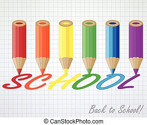 Back to school card with multicolor