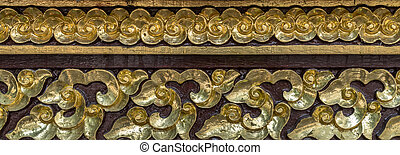 Wood craft Thai classic pattern in temple