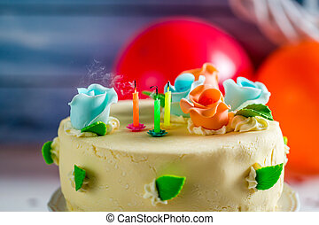 Blown out candles on birthday cake