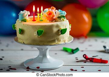 ケーキ, 蝋燭,  birthday, 風船, パーティー