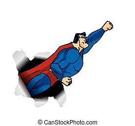 Flying Superhero thru Large Hole. Red cape, blue super hero garment. Vector illustration