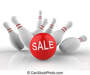 Bowling Sale Represents Ten Pin And Activity 3d Rendering -...