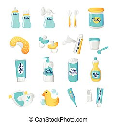 Vector baby accessories icons. Cartoon style newborn objects set.
