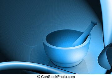 Mortar and pestle - Digital illustration of mortar and...