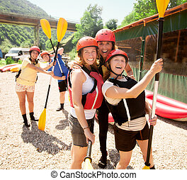 Ready rafting fun team - Team of five gathered for a...