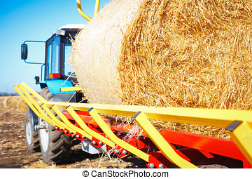 Straw on a tractor trailer - Straw on a trailer from a...