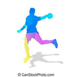 Handball player. Abstract geometric athlete with ball in...