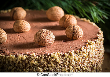 Walnut cake filled with nuts