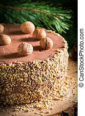Chocolate cake filled with nuts