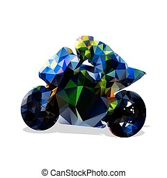 Abstract geometric blue motorbike vector silhouette, isolated road motorcycle, side view