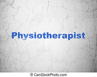 Medicine concept: Physiotherapist on wall background -...