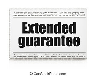 Insurance concept: newspaper headline Extended Guarantee on...