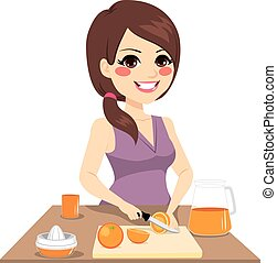 Woman Preparing Orange Juice - woman cutting oranges with...