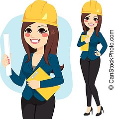Woman Female Architect - Young female architect with safety...