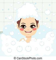Boy Having Bath - Adorable little boy having fun washing...