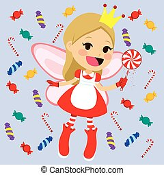 Cute Candy Fairy - Cute little red candy fairy with magic...