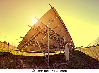 Solar panels at sunset Clean energy