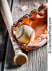 Vintage Baseball bat and ball