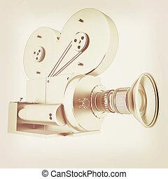 Old camera 3d render 3D illustration Vintage style