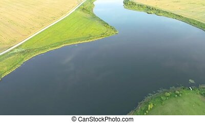 beautiful river landscape Aerial view - beautiful summer...