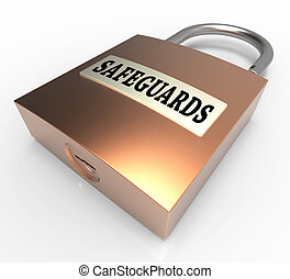 Safeguards Padlock Shows Security Unsafe And Preventive 3d...