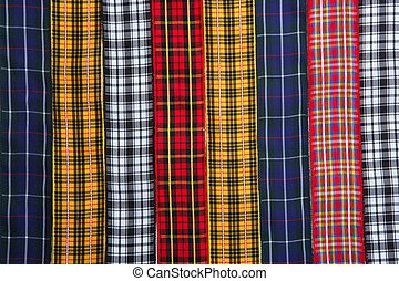 Scottish tartan fabric tapes pattern background fashion...
