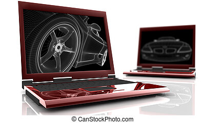 Two red laptop