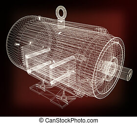 3d-model of an electric motor. 3D illustration. Vintage...