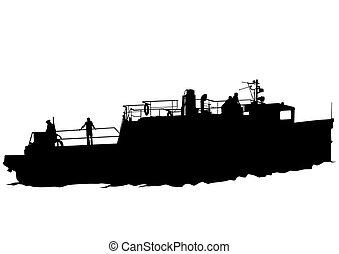 Ship on white background - Big retro ship on white...
