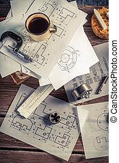 Designer desk of mechanical parts