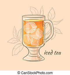 iced tea - cup of iced tea on color background