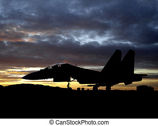 Bomber - Russian military aircraft bomber on sunset...
