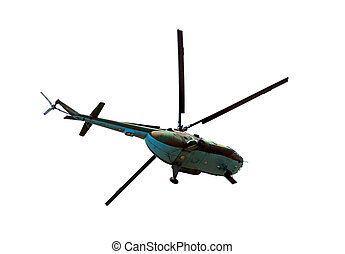 Helicopter in flight isolated on white