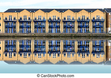 Terraced Houses along Millwall Outer Dock in London