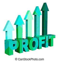 Profit Arrows Shows Earn Investment And Profitable 3d...