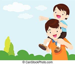 Son Sit On Dad Shoulder look sky