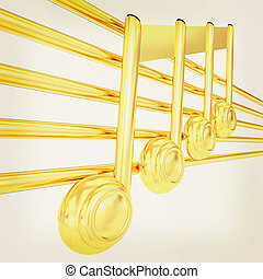 3D music note on staves 3D illustration Vintage style