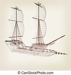 3d model ship 3D illustration Vintage style