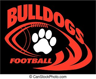 bulldogs football team design with paw print for school,...