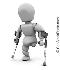 amputee on crutches - 3d render of an amputee on crutches
