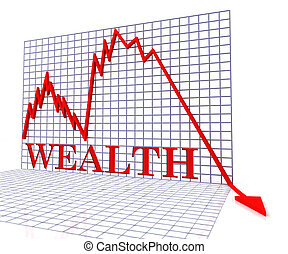 Wealth Graph Negative Shows Downturn Fall And Graphic 3d...